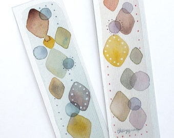 Illustrated geometric abstract bookmarks, Handpainted paper bookmarks, Original watercolor painted bookmarks, Cute stationery, For booklover