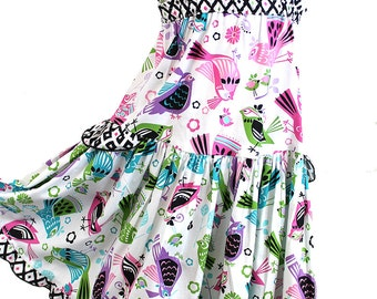 Special Occasion Girls Dress Pink Purple Aqua Bird Boutique Girl Clothes Cotton Kids Clothes Girls Party Dress Size 2T 3T 4 5 6 7 8 10 12 14
