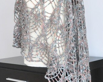 Mystery - Gray - Crochet Multicolor Shawl/Wrap