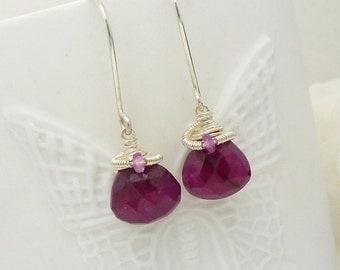 Red ruby earrings in sterling silver, wire wrapped, dark pink genuine ruby gemstones