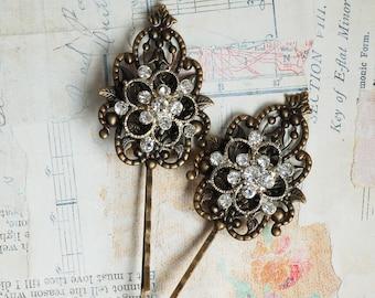 Rhinestone Bobby Pin Antique Filigree Wedding Romantic Whimsical Downton Abby Jewelry Bollywood Bohemain