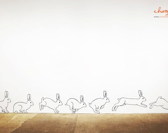 Rabbit Running Hopping Wall Decal