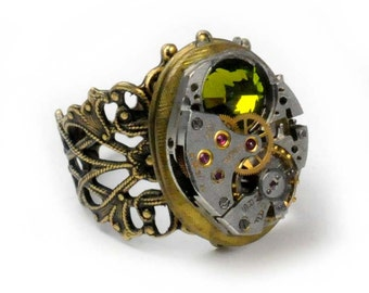 Steampunk Vintage Watch and Olivine Crystal Movement Locket Ring