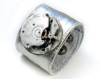 Early 1900's Antique Pocket Watch Movement Steampunk Silver Leather Cuff