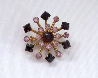 Vintage Amethyst Rhinestone Starburst Snowflake Brooch Pin (B-2-5)