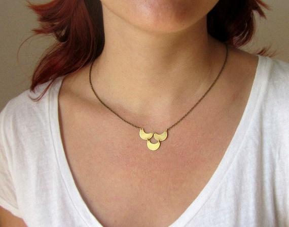 Gold brass crescent half moon necklace, constellation astrology long pendant
