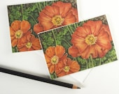 flower card, red poppies card set, poppy invitation, red flowers stationery, floral note cards
