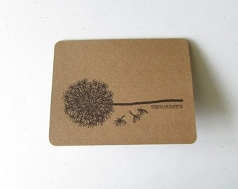 Rustic Dandelion Cards, Personalized - Rustic  Customized Cards - 6 Rustic Cards Blank Inside