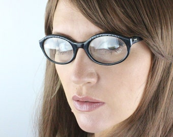 1950's Blue Rhinestone Black Cat Eyeglasses Frames