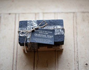 ACTIVATED CHARCOAL SOAP with wooden soap dish Gift Set Made In The OZarkS