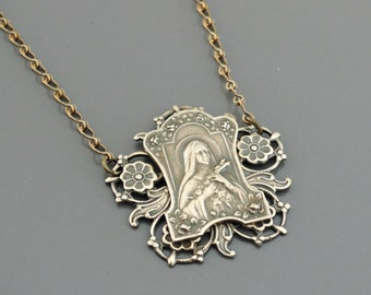Vintage Necklace - Saint Teresa Necklace - Catholic jewelry - Chloes Vintage Jewelry - handmade jewelry