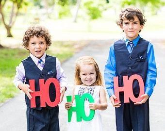 """Holiday Card Photo Prop """"HO HO HO"""" 3 Piece Set - Christmas Card Signs - Holiday Christmas Card Prop for Family Photography (Item - HHH100)"""