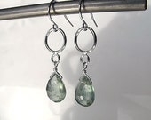 Moss aquamarine earrings, March birthstone, green earrings, sterling silver