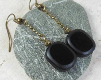 black glass , antique brass , dangle earrings - gold chain / long / women girl / handmade jewelry / my soul can dance / simple accessories