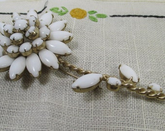 Milk Glass Navette Marquis Daisy Brooch Pin, Vintage Bridal, Wedding, Holiday Jewelry
