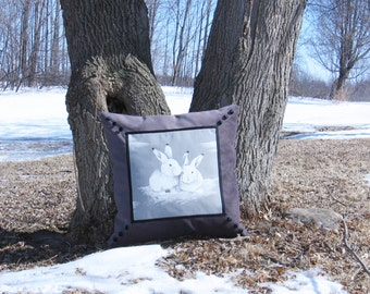 "Square Pillow Two is better 20"" x 20"" Bunnies My rabbit friends Unique Design Decorative accessory Animal Velvet Cotton Black Gray White"