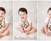 Baby Boy Easter Tie Outfit, 1st Birthday Outfit Tie Bodysuit and Suspenders. Cake Smash, Wedding Ring Bearer, Tan Yellow Brown Plaid