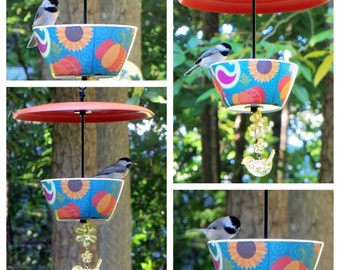 Covered Hanging Bird Feeder, Pumpkins and Paisley Design