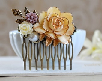 Wedding Accessory bridal hair Comb Large Cream Ivory Rose Flower Collage Hair Comb, Shabby Chic French Country Bridal Hair Accessory