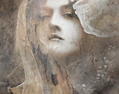 Haughty woman portrait photography, a proud woman, light brown gray, sepia, surreal, diva goddess, original art, unique gift