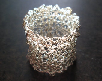 Wire crochet ring, chunky wide band, silver plated, mesh ring, crochet jewelry, bridal jewelry