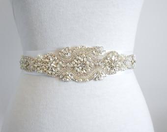 Bridal Sash, Last one! Beaded Sash Wedding Dress Sash, Rhinestone and Pearls Sash Belt Crystals and Satin Tie. A Beautiful Sash