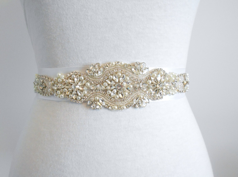 Bridal Sash Last one Beaded Sash Wedding Dress by