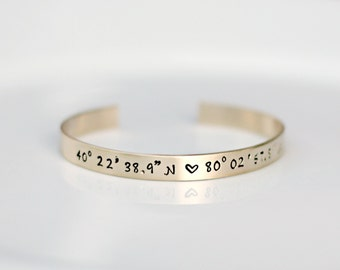 Gold Coordinate Bracelet - GPS Coordinate Bracelet - Gold Cuff Bangle - Latitude Longitude Location Jewelry