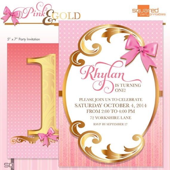 First Birthday Party Invitation Pink and Gold Ombre DIY Print – Do It Yourself Party Invitations