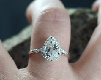 Moissanite Pear drop cut Diamonds Halo Engagement Ring Goccia Grand 2.10ct 10x7mm Custom Size White-Yellow-Rose Gold-10k-14k-18k-Platinum