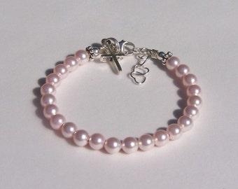 Charm Bracelet Pearl Baby Girl, Flower Girl Bracelet, Baptism, Christening, Every Day