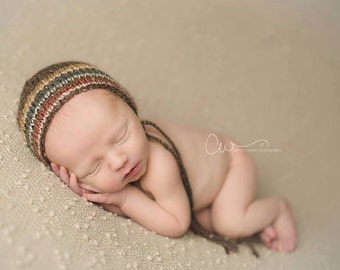 Newborn Autumn Striped Wool Tweed Classic Knit Bonnet - Ready to Ship Newborn Photography Prop
