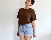 Vintage Shirt - Dark Brown Square Polka Print