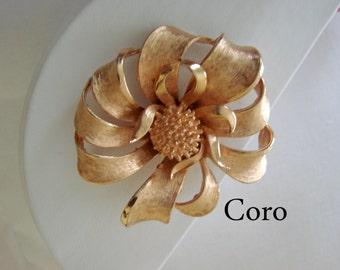 Large Coro Vintage Brooch /  Textured Goldtone / Floral Motif / Retro / Jewelry / Jewellery / CIJ Sale 20% Off Coupon Code (CIJSALE1)