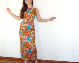 Vintage 60s Maxi Dress - Bright Floral Print Multi-Color Gown Tropical Babe S/M