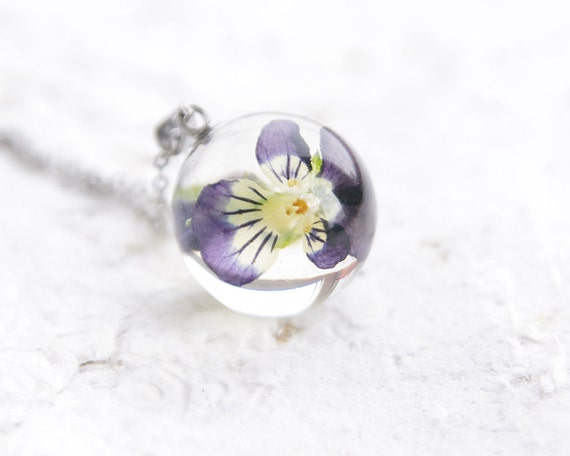 Pansy Flowers Necklace - Purple flower viola pendant - Herbalism viola plants