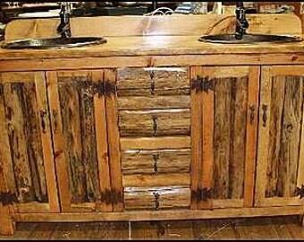 """Double Bathroom Vanity - 62"""" -MS1371-62D - Rustic LOG Bathroom Vanity - Bathroom Vanity with sink - Log Furniture - Bathroom Vanities - Sink"""