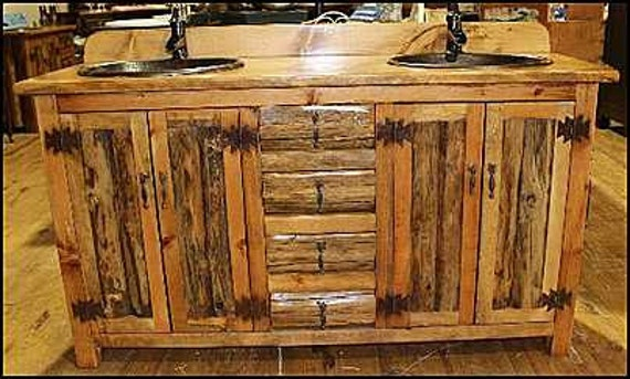 "Double Bathroom Vanity - 62"" - Rustic Bathroom Vanity - Bathroom Vanity with sink - Copper sink - Log Furniture - Bathroom Vanities - Sinks"