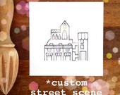 custom illustration - petite - street scene custom drawing in black and white - personalised art.