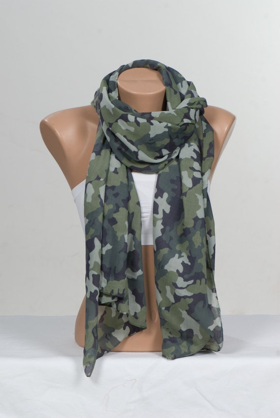 Green Camouflage Scarf Unisex Scarf Men Scarf By