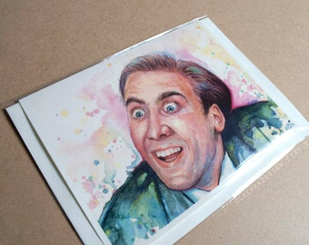 Funny Meme Card Nicolas Cage You Don't Say Blank Folded Geek Reddit Humor, Watercolor Art