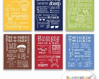 Set of 6 Nursery Printable Wall Art of Colorful, Fun Nursery Rhymes. Digital File Download 7x5, 11x14, 8x10, letter & A4. Boys Bedroom Idea