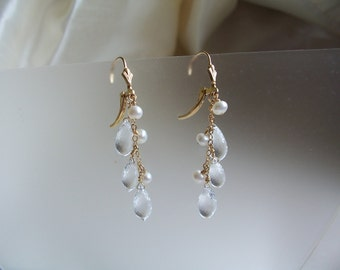 "Crystal briolettes with pearls 14k gold filled earrings leverback 2.25"" gemstone handmade MLMR item 676"