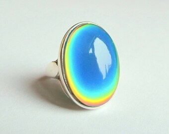 Mood Ring Sterling Silver 925 - 25x18 Quality Mood Stone