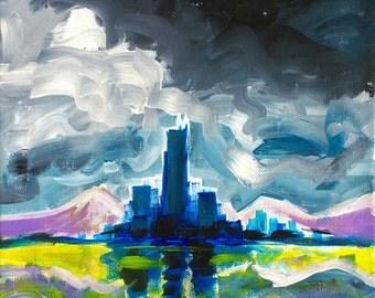 ORIGINAL Acrylic Painting - Majestic Midnight - 11x14 Moonlit Night City Art