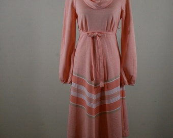 1970s Cowl Neck Peach Dress, Jerell of Texas
