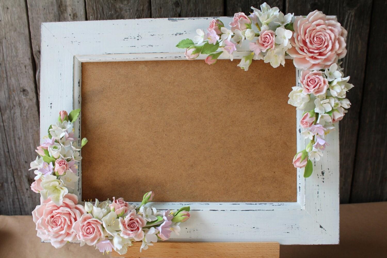 Wedding frame for wedding photo polymer clay by floraakkerman for Decoracion de marcos para fotos