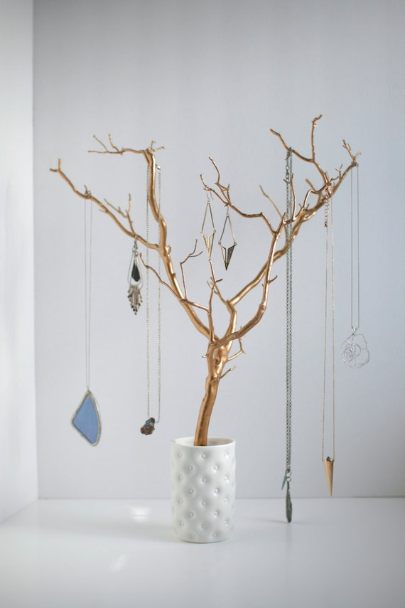 Jewelry holder tree gold organizer painted necklace hanger for Tree branch jewelry holder