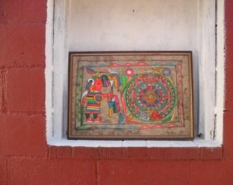 AZTEC Calendar and High Priest Framed Vibrant Watercolor Signed. Vintage Art