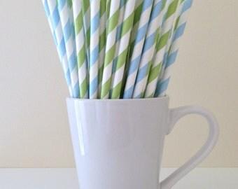 Blue and Green Striped Paper Straws Light Blue Light Green Party Supplies Party Decor Bar Cart Cake Pop Sticks  Party Graduation